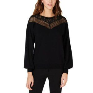 INC Ribbed Lace Pullover SWEATER L NWT